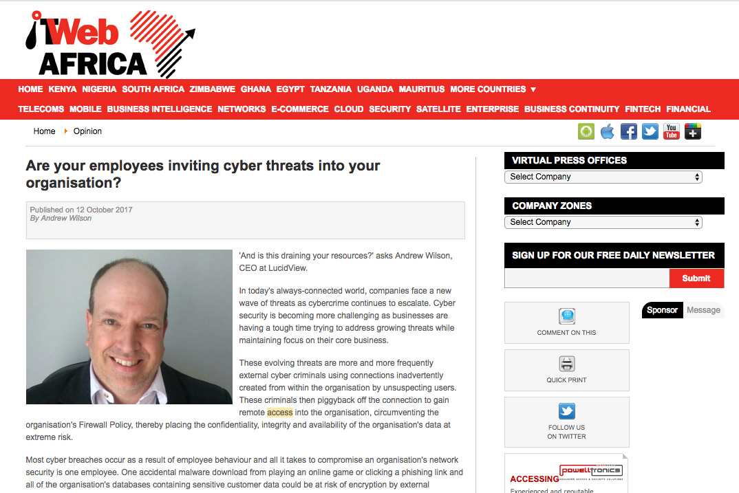 cybercrime - IT Web News article