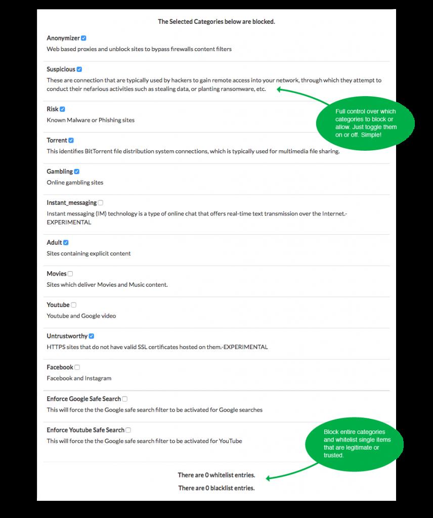 LucidView MikroTik Enforcer Categories