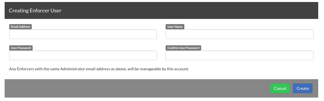 Creating an Enforcer User for your customer